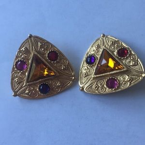 Jewelry - Vintage Clip Earrings-colorful